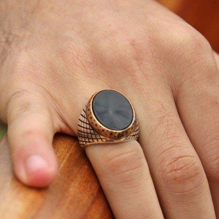 Baklava Desen İşlemeli Oniks Taşlı 925 Ayar Gümüş Erkek Yüzük - Thumbnail