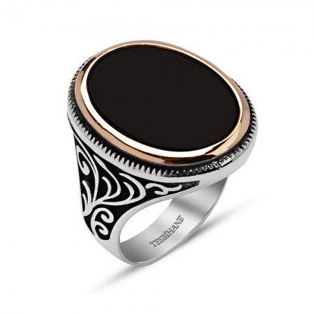 Özel Tasarım Oniks Taşlı 925 Ayar Gümüş Erkek Yüzük - Thumbnail