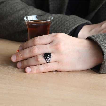925 Ayar Gümüş Oval Siyah Oniks Taşlı Erkek Yüzük - Thumbnail