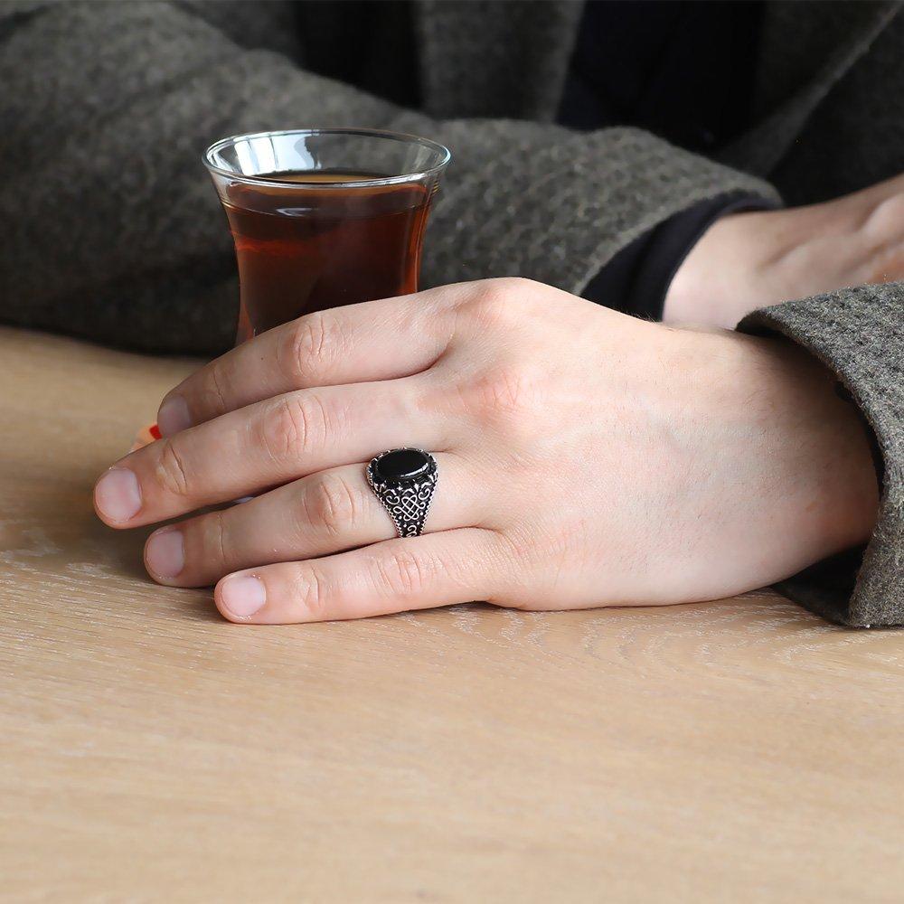 925 Ayar Gümüş Oval Siyah Oniks Taşlı Erkek Yüzük