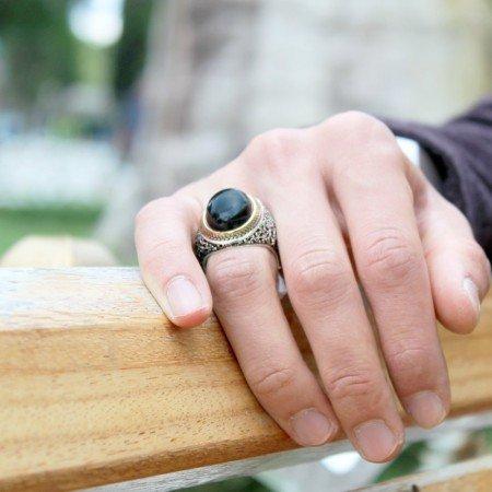 Siyah Bombeli Oniks Taşlı 925 Ayar Gümüş Erkek Yüzük - Thumbnail