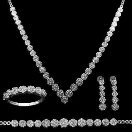 925 Ayar Gümüş Özel Hediye Kutulu Zirkon Taşlı Set (Model-8) - Thumbnail