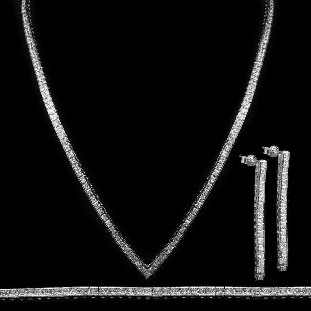 925 Ayar Gümüş Özel Hediye Kutulu Zirkon Taşlı Set (Model-9)