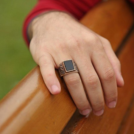 925 Ayar Gümüş Özel Model Oniks Yüzük - Thumbnail