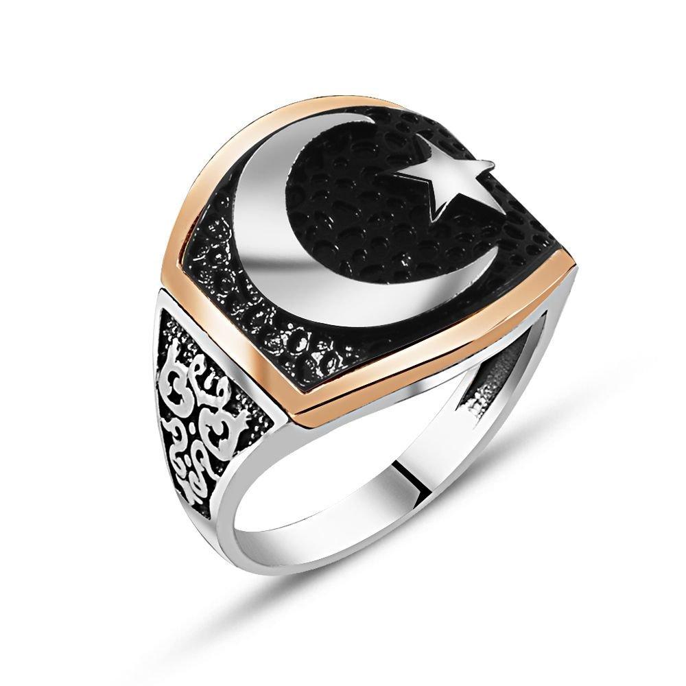925 Ayar Gümüş Özel Tasarım Ay Yıldız Yüzük