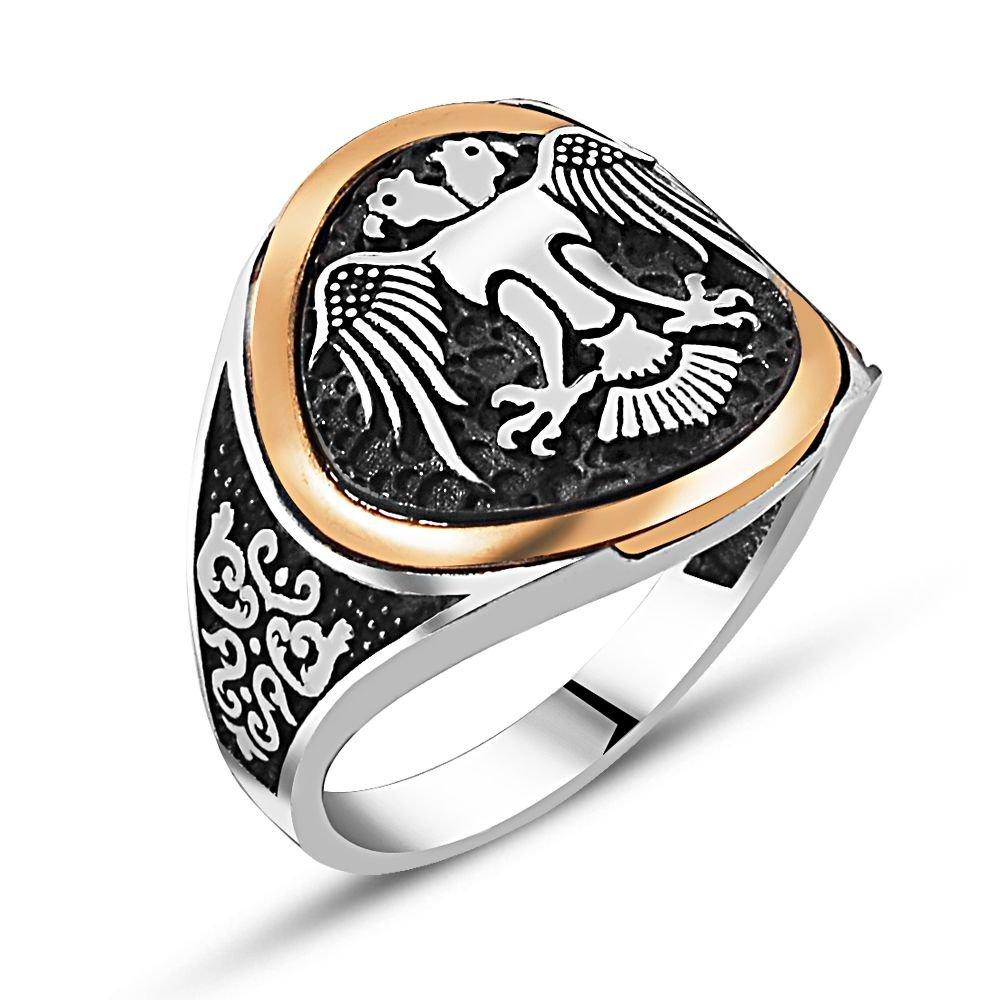 925 Ayar Gümüş Özel Tasarım Çift Başlı Kartal Yüzük (Selçuk Kartal)