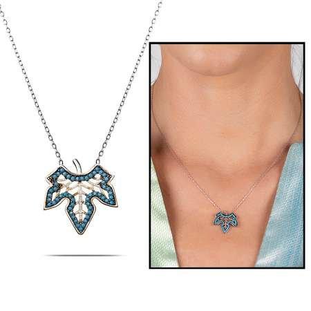 925 Ayar Gümüş Özel Tasarım Çınar Yaprağı Kolye - Thumbnail