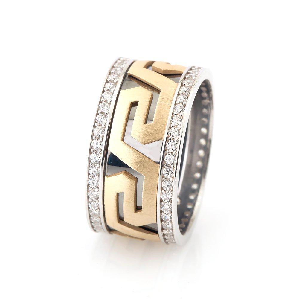 Labirent Tasarım Zirkon Taşlı 925 Ayar Gümüş Bayan Alyans