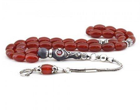 925 Ayar Gümüş Ayyıldız Püsküllü Arpa Kesim Koyu Kırmızı Akik Tesbih - Thumbnail