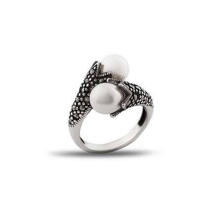 925 Ayar Gümüş Özel Tasarım İnci Taşlı Yüzük - Thumbnail
