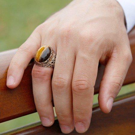 Kaplan Gözü Taşlı 925 Ayar Gümüş Erkek Yüzük - Thumbnail