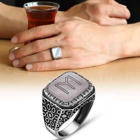 Özel Tasarım Kayı Motifli Sentetik Taşlı 925 Ayar Gümüş Erkek Yüzük - Thumbnail