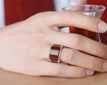 Özel Tasarım Dörtgen Kırmızı Akik Taşlı 925 Ayar Gümüş Erkek Yüzük - Thumbnail