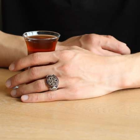 Özel Tasarım Oval Kırmızı Akik Taşlı 925 Ayar Gümüş Erkek Yüzük - Thumbnail
