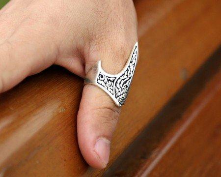 925 Ayar Gümüş Özel Tasarım Okçu (Zihgir) Yüzüğü - Thumbnail