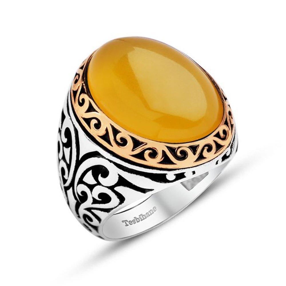 Sarı Akik Taşlı 925 Ayar Gümüş Erkek Yüzük