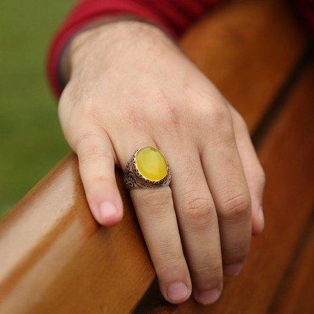 Sarı Akik Taşlı 925 Ayar Gümüş Erkek Yüzük - Thumbnail