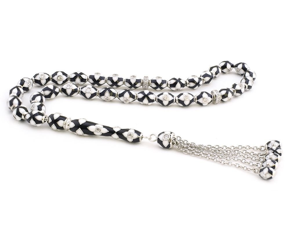 925 Ayar Gümüş Özel Tasarım Siyah Beyaz Mineli Gümüş Tesbih