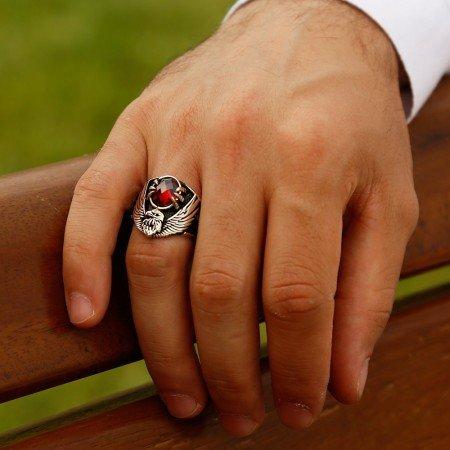 925 Ayar Gümüş Özel Tasarım Son İmparator Yüzüğü (kırmızı Taşlı) - Thumbnail