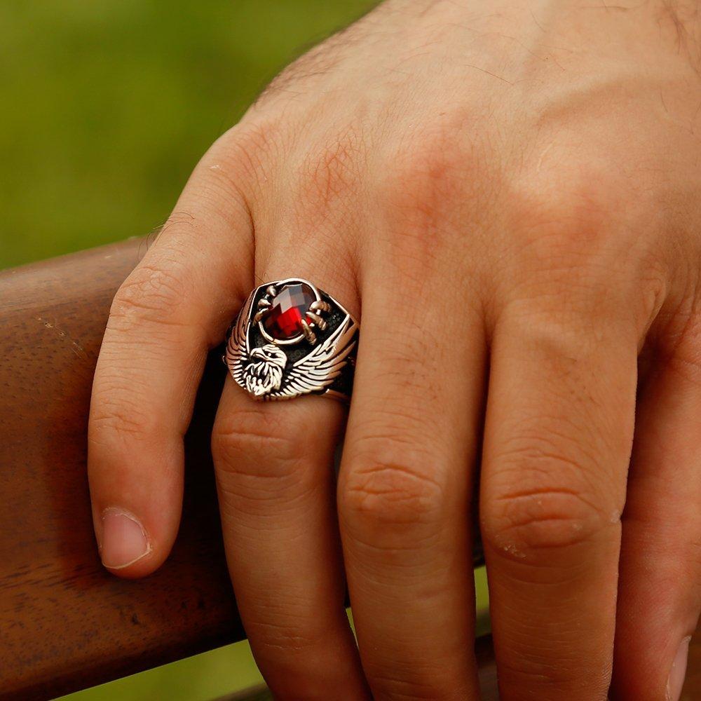 925 Ayar Gümüş Özel Tasarım Son İmparator Yüzüğü (kırmızı Taşlı)