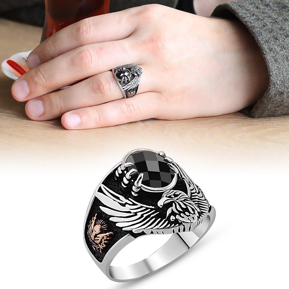 Arma İşlemeli Kartal Tasarım Siyah Zirkon Taşlı 925 Ayar Gümüş Yüzük
