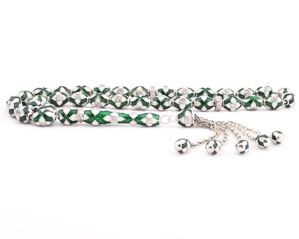 925 Ayar Gümüş Özel Tasarım Yeşil Beyaz Mineli Tesbih