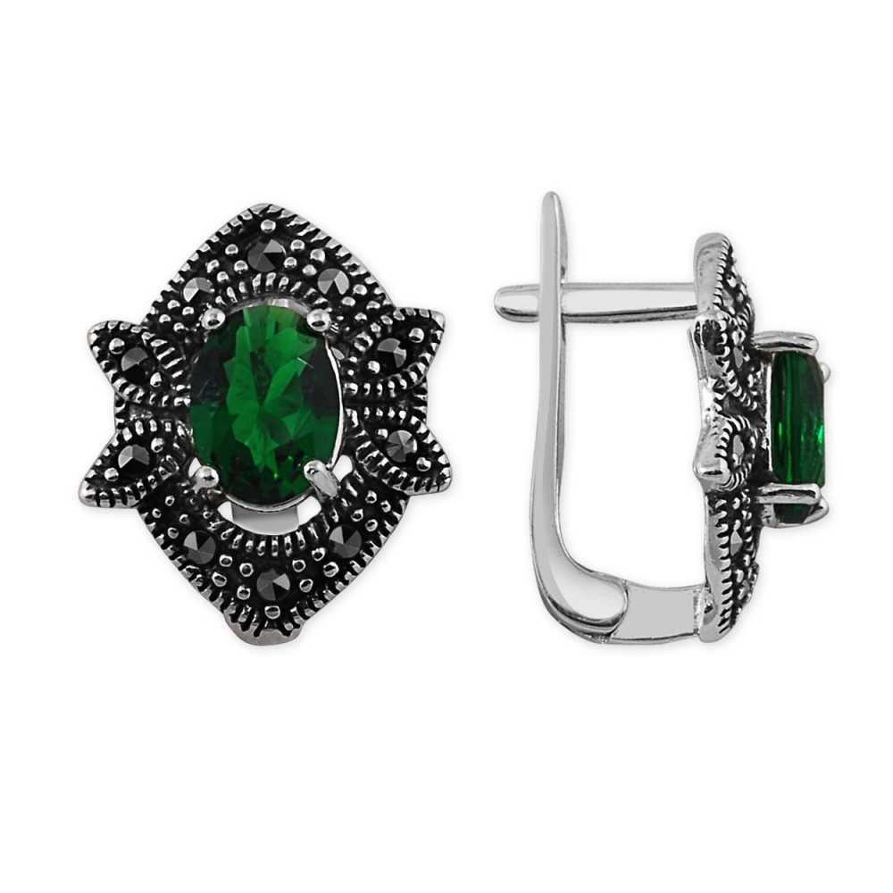 925 Ayar Gümüş Özel Tasarım Yeşil Zirkon Taşlı Küpe