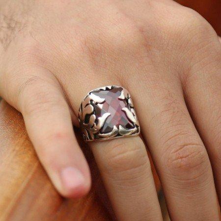 Kırmızı Zirkon Taşlı 925 Ayar Gümüş Şövalye Erkek Yüzük - Thumbnail