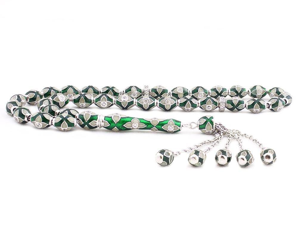 925 Ayar Gümüş Özel Tasarım Zirkon Taşlı Yeşil Beyaz Fosforlu Mineli Tesbih
