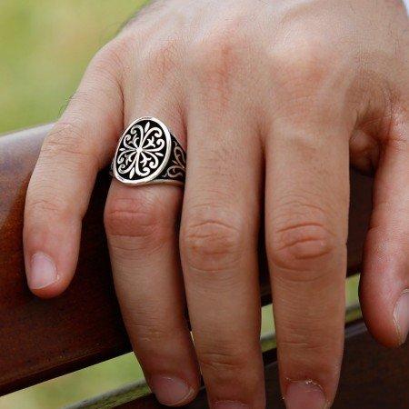 925 Ayar Gümüş Padişah Yolu Erkek Yüzük - Thumbnail