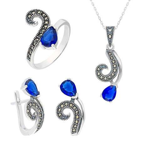 Parlement Mavi Zirkon Taşlı 925 Ayar Gümüş 3'lü Takı Seti - Thumbnail