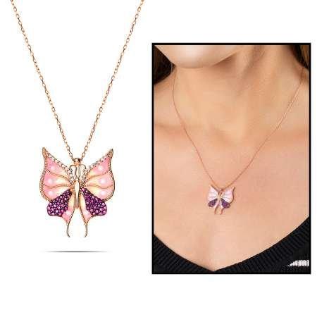 Beyaz-Pembe Zirkon Taşlı Kelebek Tasarım 925 Ayar Gümüş Bayan Kolye - Thumbnail