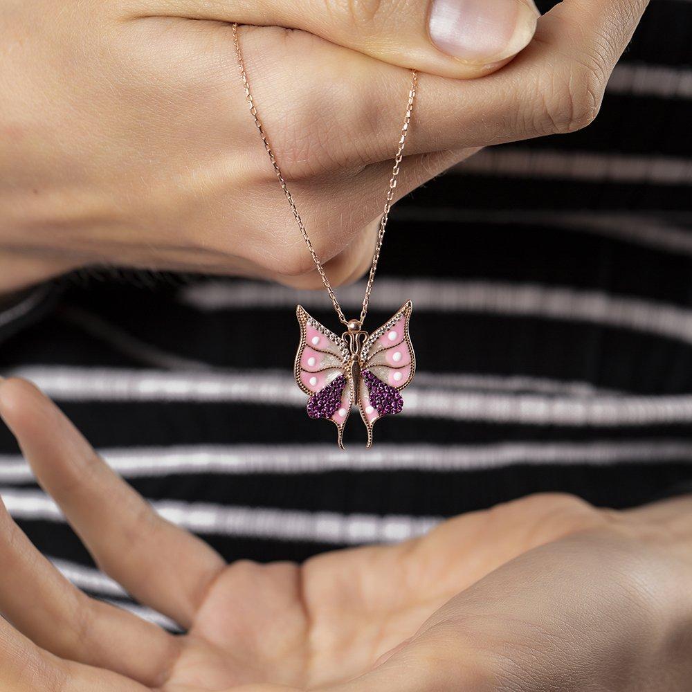 Beyaz-Pembe Zirkon Taşlı Kelebek Tasarım 925 Ayar Gümüş Bayan Kolye