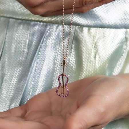 925 Ayar Gümüş Pembe Zirkon Taşlı Keman Kolye - Thumbnail