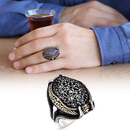 Desen İşlemeli Pençe Tasarım 925 Ayar Gümüş Erkek Yüzük - Thumbnail