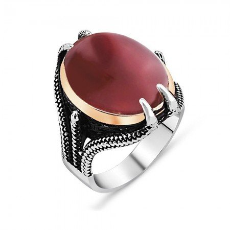 Pençe Tasarım Kırmızı Akik Taşlı 925 Ayar Gümüş Erkek Yüzük - Thumbnail