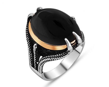 Pençe Tasarım Siyah Oniks Taşlı 925 Ayar Gümüş Erkek Yüzük - Thumbnail