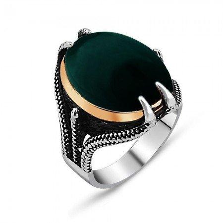 925 Ayar Gümüş Pençeli Yeşil Akik Taşlı Yüzük - Thumbnail