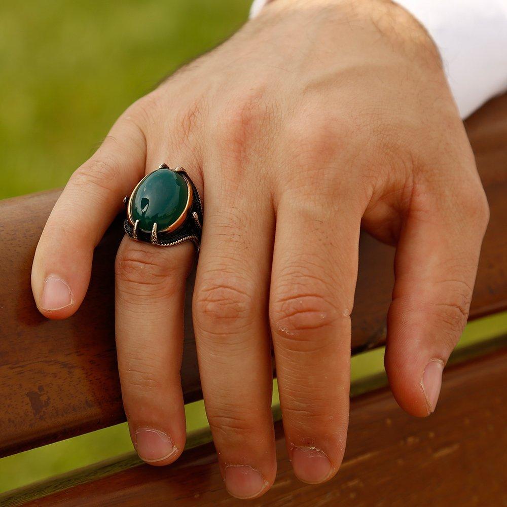 925 Ayar Gümüş Pençeli Yeşil Akik Taşlı Yüzük