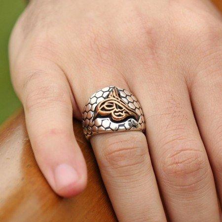 925 Ayar Gümüş Petekli Tasarım Tuğra Model Yüzük - Thumbnail