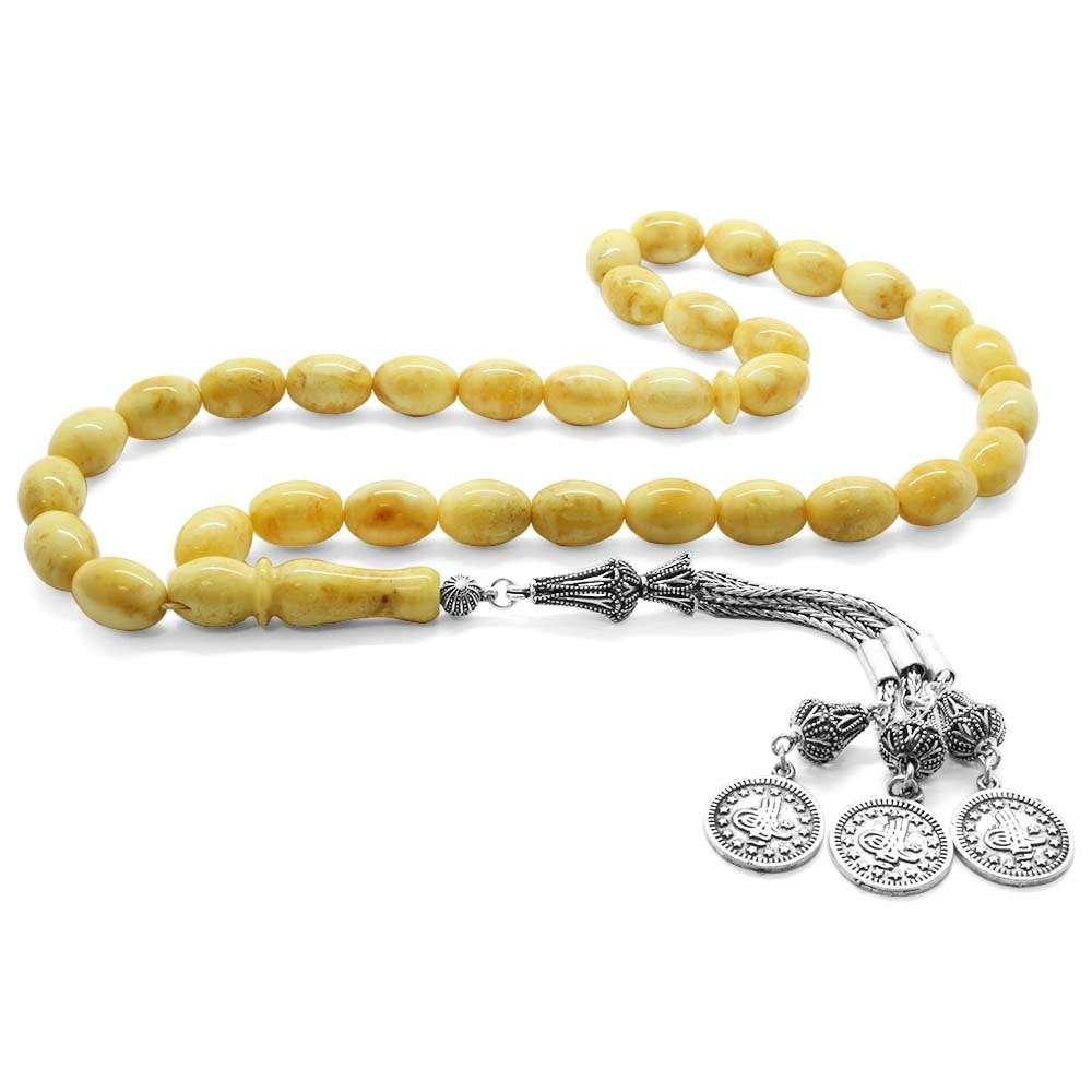 925 Ayar Gümüş Püsküllü Açık Sarı Renk Damla Kehribar Tesbih