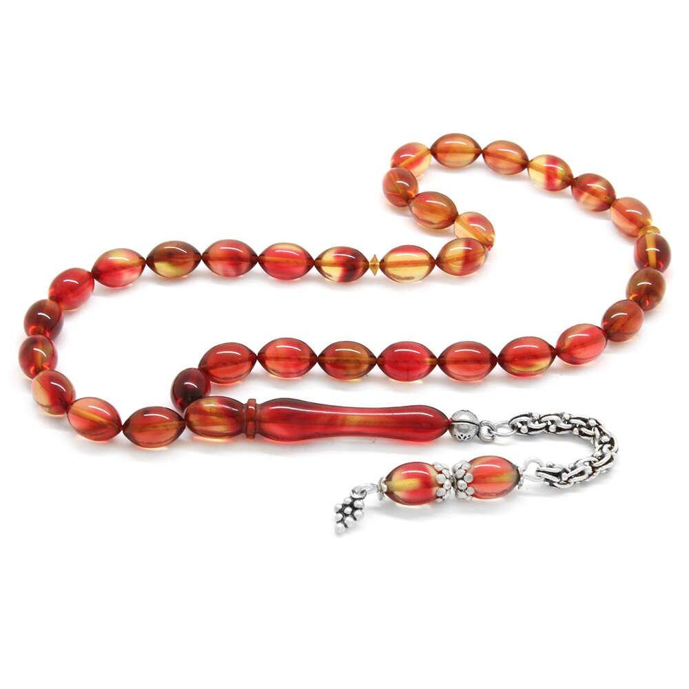 925 Ayar Gümüş Püsküllü Arpa Kesim Işıltılı Kırmızı Ateş Kehribar Tesbih