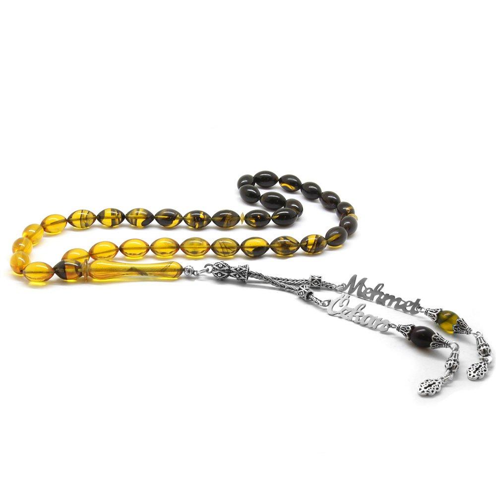 925 Ayar Gümüş Püsküllü Arpa Kesim İsim Yazılı Sarı Ateş Kehribar Tesbih