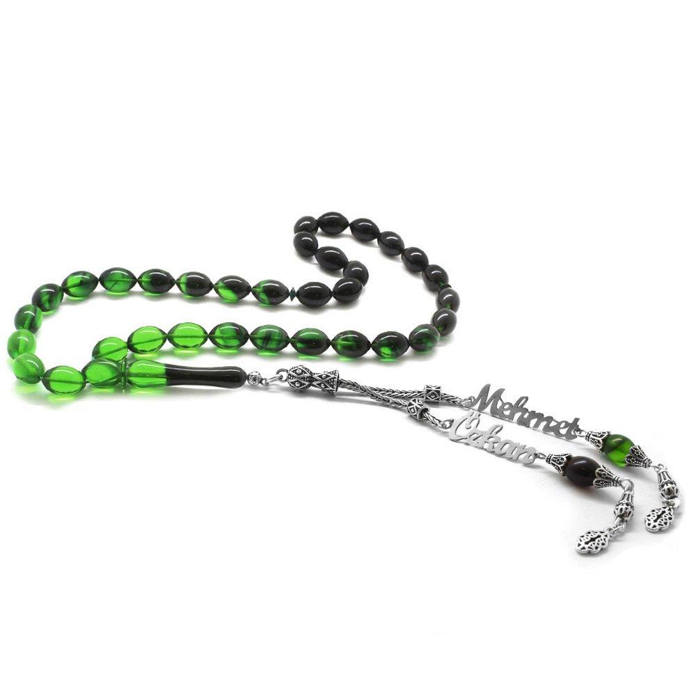 925 Ayar Gümüş Püsküllü Arpa Kesim İsim Yazılı Yeşil Ateş Kehribar Tesbih
