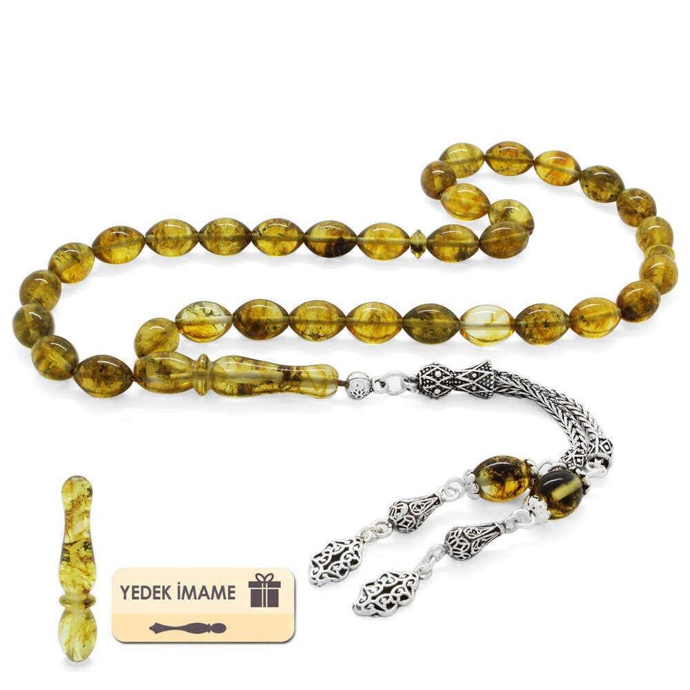 925 Ayar Gümüş Püsküllü Arpa Kesim Limon Sarı Damla Kehribar Tesbih