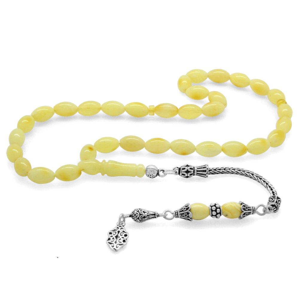 925 Ayar Gümüş Püsküllü Arpa Kesim Sarı-Beyaz Damarlı Ukrayna Damla Kehribar Tesbih
