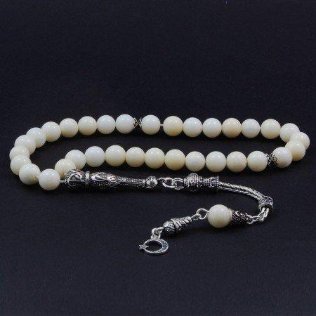925 Ayar Gümüş Ayyıldız Püsküllü Küre Kesim Beyaz Mercan Tesbih - Thumbnail