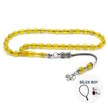 925 Ayar Gümüş Püsküllü Bilek Boy Hareli Sarı Sıkma Kehribar Tesbih - Thumbnail