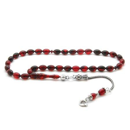 925 Ayar Gümüş Püsküllü Bilek Boy Kırmızı-Siyah Sıkma Kehribar Tesbih - Thumbnail