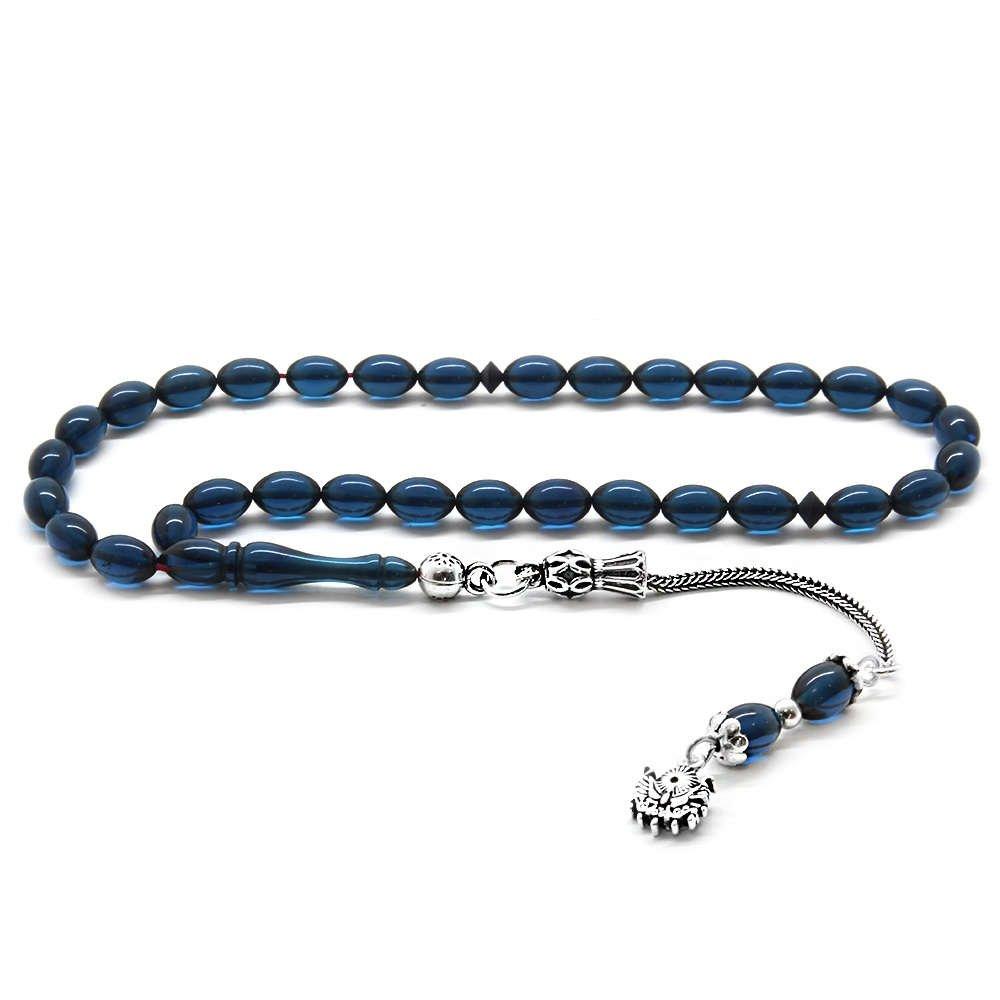 925 Ayar Gümüş Püsküllü Bilek Boy Mavi-Siyah Sıkma Kehribar Tesbih